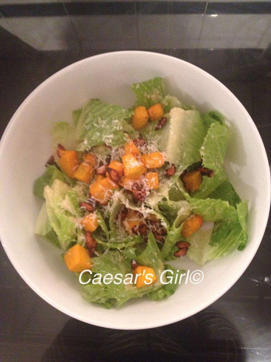Caesar Salad with Pumpkin Croutons and Spiced Pumpkin Seeds