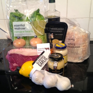 Ingredients for Steak Caesar Salad