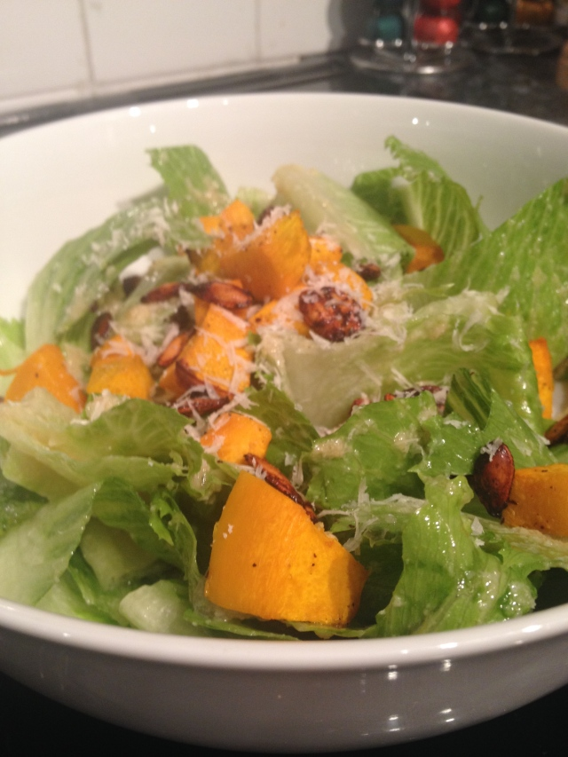 Caesar Salad with Pumpkin Croutons and Spiced Pumpkin Seeds