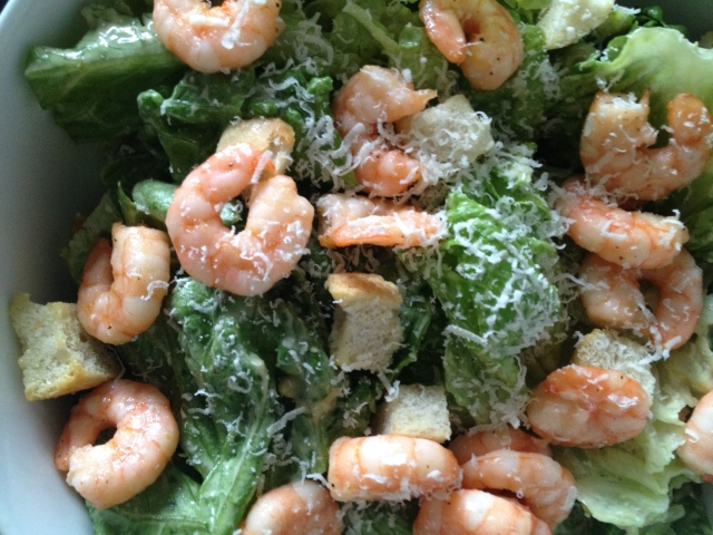 Caesar Salad with Lemon Pepper Shrimp