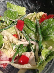Lettuce, asparagus, fennel, tomato and caesar dressing