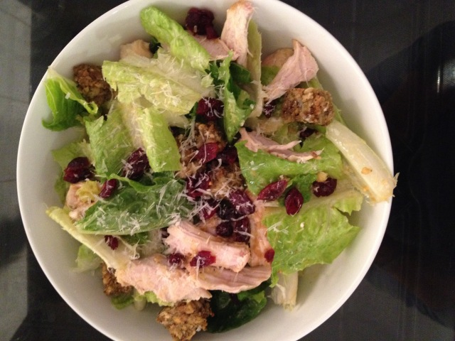 Turkey Caesar Salad with Leftover Croutons