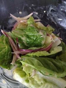 Cos lettuce, Red onion and Caesar dressing