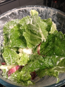 Lettuce, Racicchio and Caesar Dressing