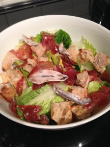 Lettuce, croutons parma ham and marinated anchovy fillets